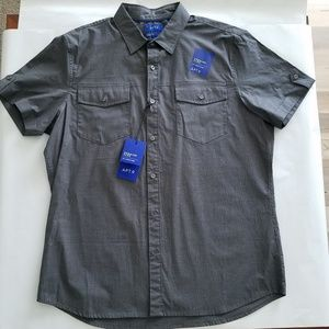 NWT Apt. 9 Grey Short Sleeve Button-Slim Fit- L